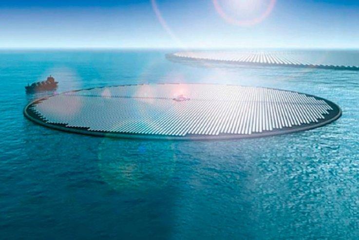 Impresión artística de una «isla solar de metanol» que podría convertir el CO2 atmosférico en combustible