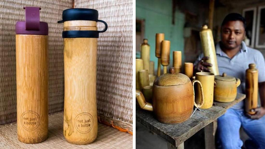 Hombre crea botellas de bambú que no contaminan y a prueba de derrames