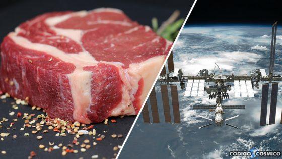 Astronautas cultivan carne en el espacio por primera vez