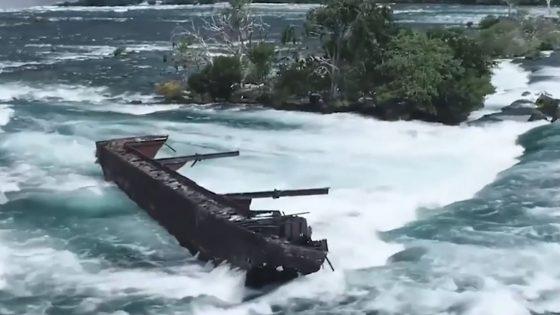 Aparece luego de 100 años un barco en las Cataratas del Niágara