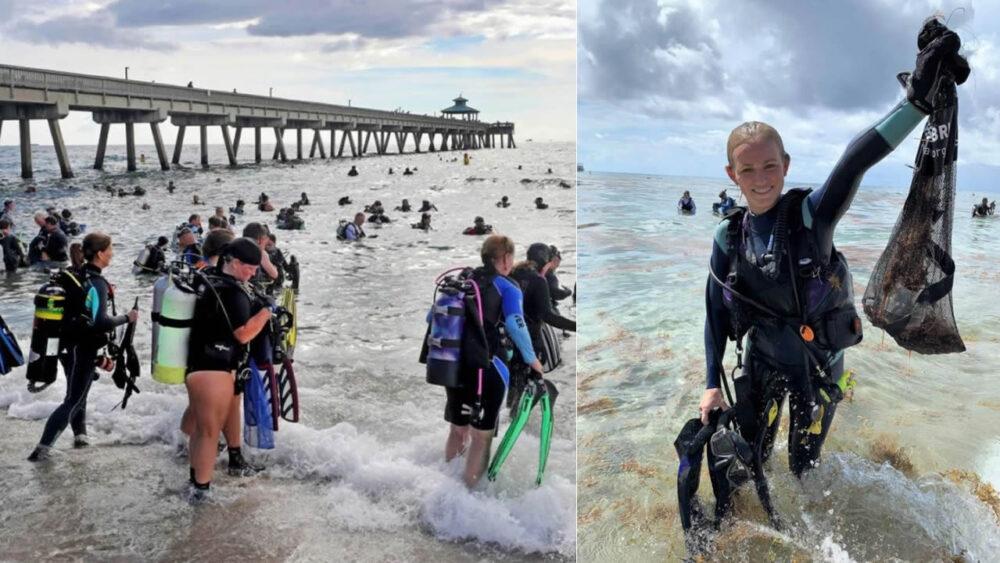 Grupo de buzos recolectan cientos de kilogramos de basura del océano y rompen récord Guinness